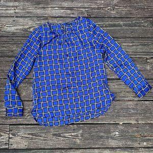 The Limited | Blue & tan geometric square blouse